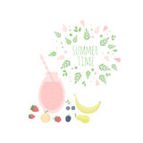Illustration with leaves frame, juice, fruits and berries. Summer time vector illustration