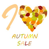 Illustration with leaves and message I love autumn sale Stock Photo