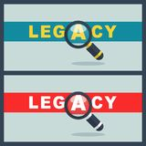 Legacy word with magnifier concept Royalty Free Stock Images