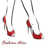 Illustration with legs of woman in fashion summer Royalty Free Stock Photo