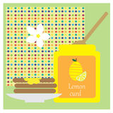 Illustration with lemon curd and toast Stock Image