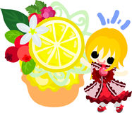 The illustration of lemons and girls Stock Images