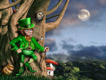 Leprechaun at night. Illustration of a leprechaun with his pot of gold at night Stock Photo