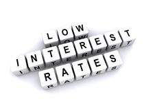 "Low interest rates. An illustration of letter blocks with the words ""low interest rates Royalty Free Stock Photography"