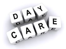 Day Care. An illustration of letter cubes forming the word day care, day care, childcare concept Royalty Free Stock Image