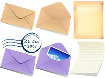 Illustration of letter papaer and envelop. Illustration of letter papaer, postmark and envelop royalty free illustration
