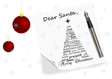 Illustration of a letter to Santa Claus Stock Photography