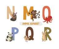 Illustration with letters and animals Royalty Free Stock Images