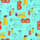 Illustration of letters. Seamless pattern. Colorful letters A and B. Royalty Free Stock Image