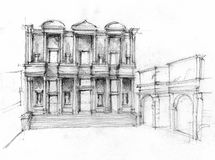 Library of Celsus. Illustration of Library of Celsus in Ephesus, Turkey. Ruin of monumental facade of historic building. Hand pencil sketch Stock Photography