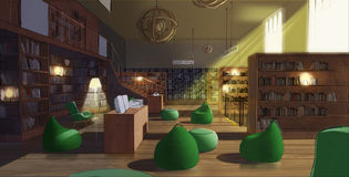 Illustration of a library. Interior in wood royalty free illustration