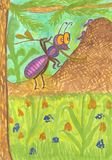 Illustration about the life of ants in the forest stock illustration