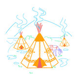 Illustration of life indigenous people Royalty Free Stock Image
