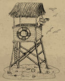 Illustration with lifeguard tower Stock Photos