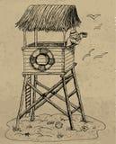 Illustration with lifeguard tower Stock Photos