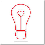 Illustration of light bulb with heart. Abstract symbol of an idea, a symbol of love. Vector illustration Stock Photography