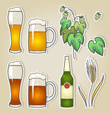 Illustration of light and dark beer with wheat and hops Stock Photo