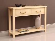 Illustration of light wooden dresser against the dark wallpap Royalty Free Stock Images