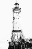 Illustration of lighthouse on lake Bondesee made in sketch style. Bavaria, Germany Stock Photo