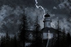 Lighthouse & Trees Illustration Royalty Free Stock Images