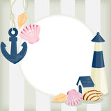 Illustration lighthouse on striped background Royalty Free Stock Photography