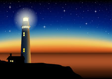 Illustration of a lighthouse during sunset. Mesh gradient in eps10 format stock illustration