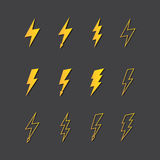 Illustration of lightning icon set Royalty Free Stock Photos