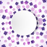 Illustration with lilac flower frame isolated on white background Stock Images