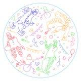 Illustration linéaire d'isolement par couleur de quatre clowns et attributs de cirque en cercle illustration stock