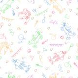 Illustration linéaire de couleur des clowns et des attributs de cirque Configuration sans joint illustration de vecteur
