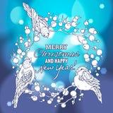 Illustration linéaire de Noël et de nouvelle année illustration de vecteur