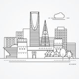 Illustration linéaire de Riyadh, Arabie Saoudite Une ligne style plate Illustration à la mode de vecteur illustration de vecteur