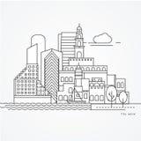 Illustration linéaire de Tel Aviv, Israël Une ligne style plate Photos stock