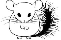 Illustration of line art stylized chinchilla royalty free stock image