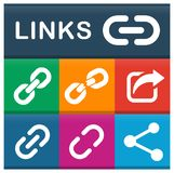 Links icons set with various colors. Illustration of links icons set with various colors Royalty Free Stock Photo