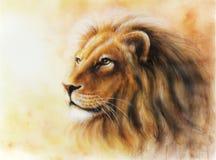 Illustration lion profile color painting profile portrait. Fractal Royalty Free Stock Images