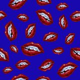 Illustration with lips and braces. Seamless pattern on a blue ba royalty free illustration