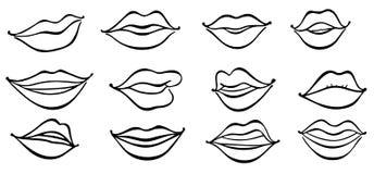 Illustration of lips girlish collection, vogue female. Black and white comic female lips  set royalty free illustration