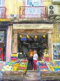 Illustration of Lisbon traditional fruit vegetable store in downtown Alfama. Illustration of Lisbon traditional fruit vegetable store in downtown district Alfama stock illustration