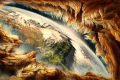 Illustration lisse abstraite artistique entourant un fond d'horizon de la terre illustration de vecteur