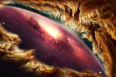 Illustration lisse abstraite artistique entourant une vue de galaxie à l'arrière-plan illustration de vecteur