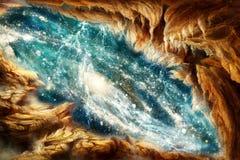 Illustration lisse abstraite artistique entourant une vue de galaxie à l'arrière-plan photos libres de droits