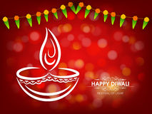 Illustration of lit lamp for Happy Diwali celebration. Stock Photos
