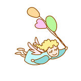 Illustration of the little angel flying with balloons Stock Image