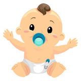 Illustration of Little Baby Boy Sucking a Pacifier Royalty Free Stock Images