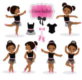 Illustration of little ballerinas and other related items. Vector illustration isolated on white background Royalty Free Stock Photos