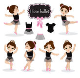 Illustration of little ballerinas and other related items. Vector illustration  on white background Stock Images