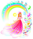 Illustration of little beautiful girl dreaming about happy childhood in wonderland. Stock Images
