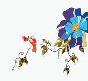 Bird and flower. An illustration of little bird on a branch royalty free illustration