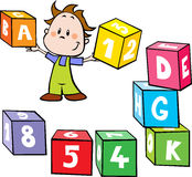 Illustration of little boy hold colorful cubes wit. H letter and number isolated on white background - school by play Stock Photo